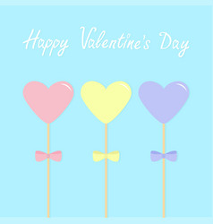Three hearts with bows on sticks pink blue yellow vector