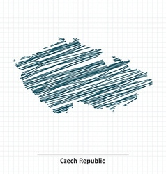 Doodle sketch of Czech Republic map vector image