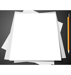 Blank sheets of paper and pencil vector image