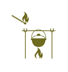 fire and pot icon vector image