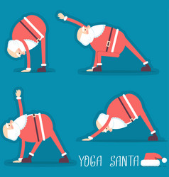 Santa claus doing yoga isolated vector