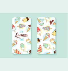 Template phone case with icecream and text summer vector