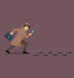 Detective investigate is following footprints vector