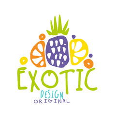 exotic logo original design with tropical fruits vector image