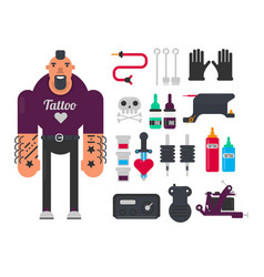 Tattoo master and tattooing work tools flat vector