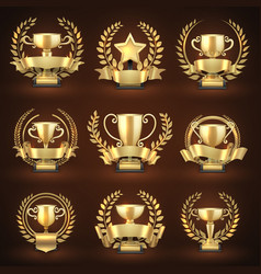 Golden winner trophy cups prize sports awards vector