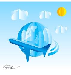 plane globe origami 3d paper vector image