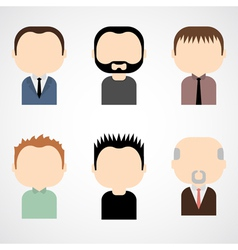 Set of colorful male faces icons vector image