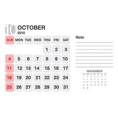 Calendar Ovtober 2015 vector image