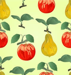 Seamless texture red apple with pear vector