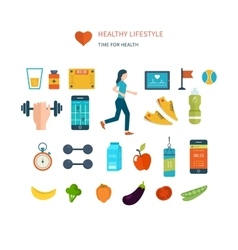 Modern flat icons of healthy lifestyle vector