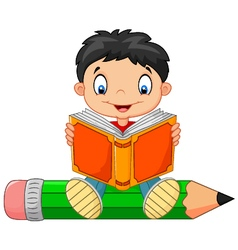 Cartoon little boy reading a book vector