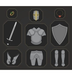 Game inventory knight armor set color vector