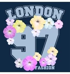Floral t-shirt emblem summer style vector
