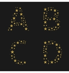 Golden stars alphabet vector