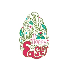 Greeting card with doodle easter egg color vector
