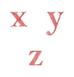 Red sketch font set - lowercase letters x y z vector