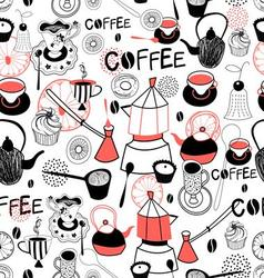 Graphic pattern with crockery for coffee and cake vector image