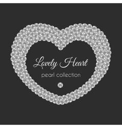 Pearl heart frame in heart shape White vector image