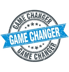 Game changer blue round grunge vintage ribbon vector