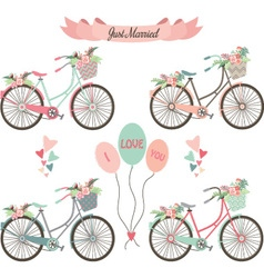 Wedding bicyclesflowersbannerelements vector