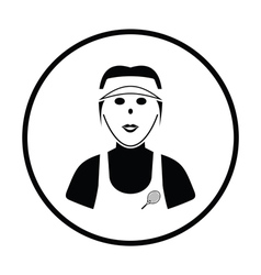 Tennis woman athlete head icon vector