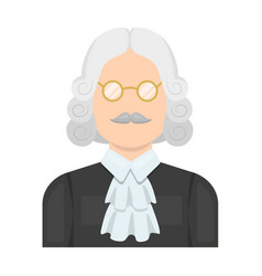 A judge in a wig and glasses a person who makes a vector