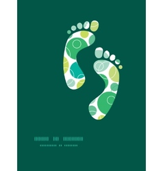 abstract green circles footprints vector image