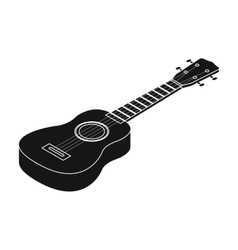 Acoustic bass guitar icon in black style isolated vector image vector image