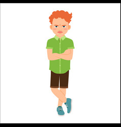 Angry redhead boy in green shirt vector