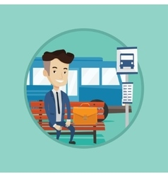 Businessman waiting at the bus stop vector