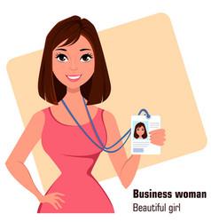 Cartoon businesswoman beautiful brunette lady in vector