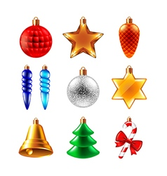 Christmas balls different forms set vector image