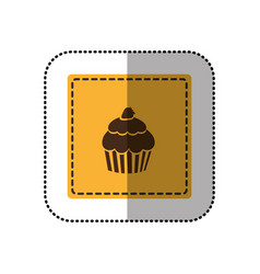 Color emblem muffin icon vector