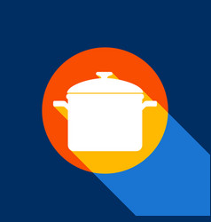 Cooking pan sign white icon on tangelo vector