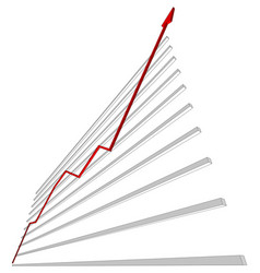 diagram with red curve vector image vector image