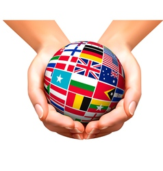 Flags of the world in globe and hands vector image vector image