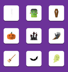 flat icon celebrate set of monster zombie vector image vector image