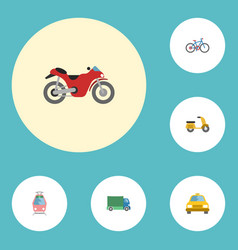 flat icons bicycle cab scooter and other vector image vector image