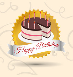 Happy birthday cake candles stamp vector