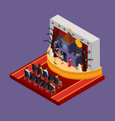Isometric halloween theatrical performance concept vector
