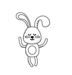 Line cute rabbit boy wild animal character vector
