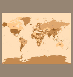 old vintage or retro style map of world political vector image