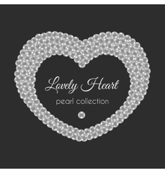 Pearl heart frame in heart shape White vector image