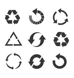 recycled eco icon set vector image vector image
