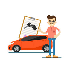 Rent car business concept with smiling dealer vector