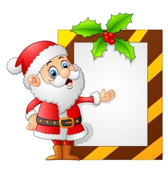 santa presenting blank sign vector image
