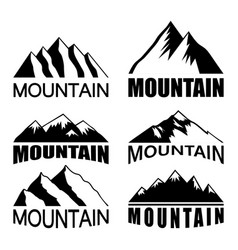 set of mountains on the white background vector image