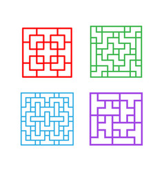 set of square chinese pattern window frame vector image