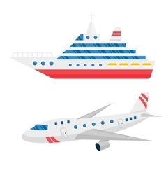 Ship cargo and airline avia transportation vector image vector image
